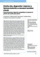 prikaz prve stranice dokumenta Klinička slika, dijagnostika i smjernice u liječenju bolesnika sa stenozom karotidne arterije