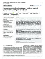 prikaz prve stranice dokumenta Socio‐economic and health status as a predictor of apical periodontitis in adult patients in Croatia