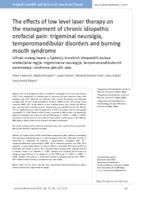 prikaz prve stranice dokumenta Učinak mekog lasera u liječenju kroničnih idiopatskih bolova orofacijalne regije: trigeminalne neuralgije, temporomandibularnih poremećaja i sindroma pekućih usta