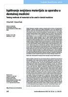 prikaz prve stranice dokumenta Ispitivanje svojstava materijala za uporabu u dentalnoj medicini
