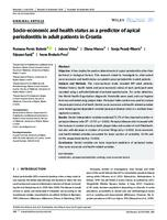 prikaz prve stranice dokumenta Socio‐economic and health status as a predictor of apical periodontitis in adult patients in Croatia